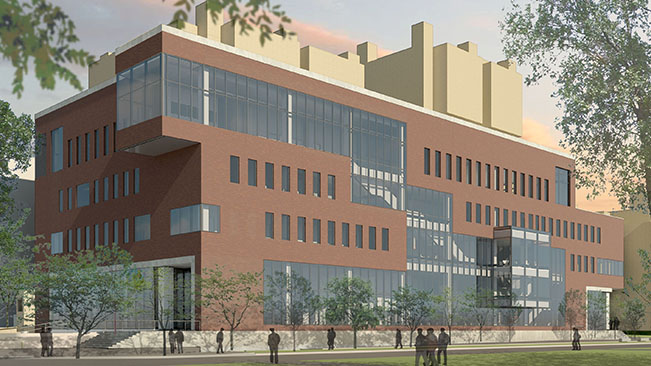 Exterior rendering of the HSEC building from Harvard Street